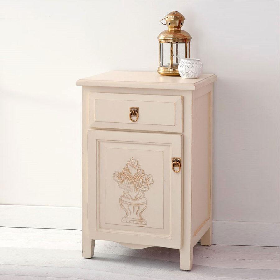 Wood nightstand CLIO BEIGE