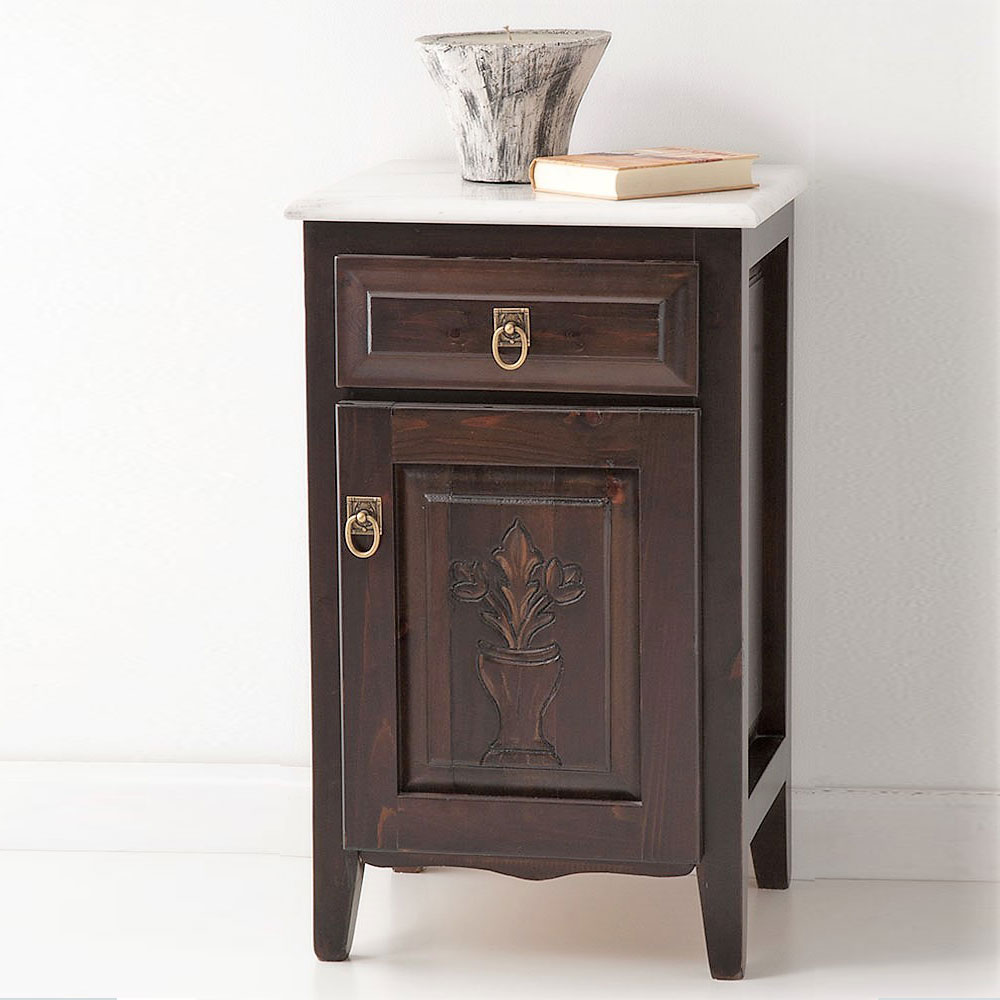 Marble top nightstand with drawer CLIO
