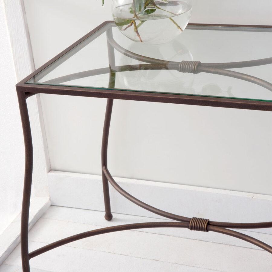 Glass and metal nightstand PENELOPE mod.01-02