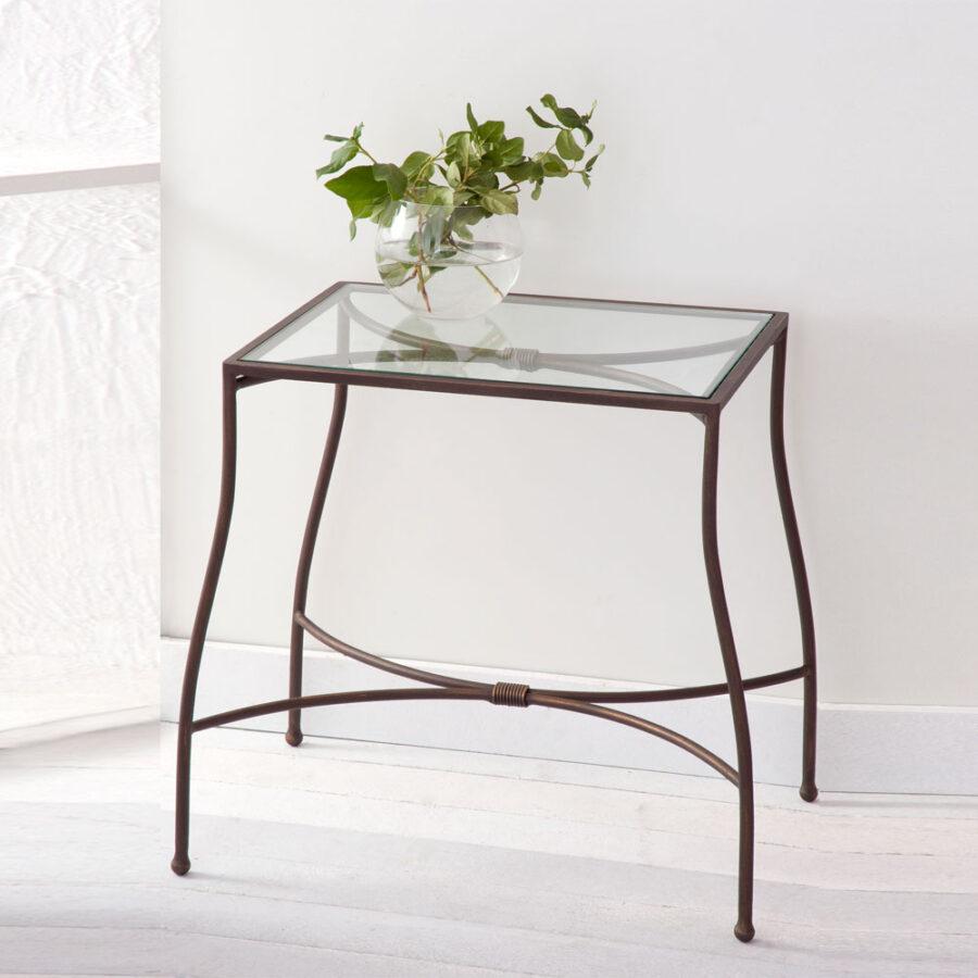 Glass and metal nightstand PENELOPE mod.01-01